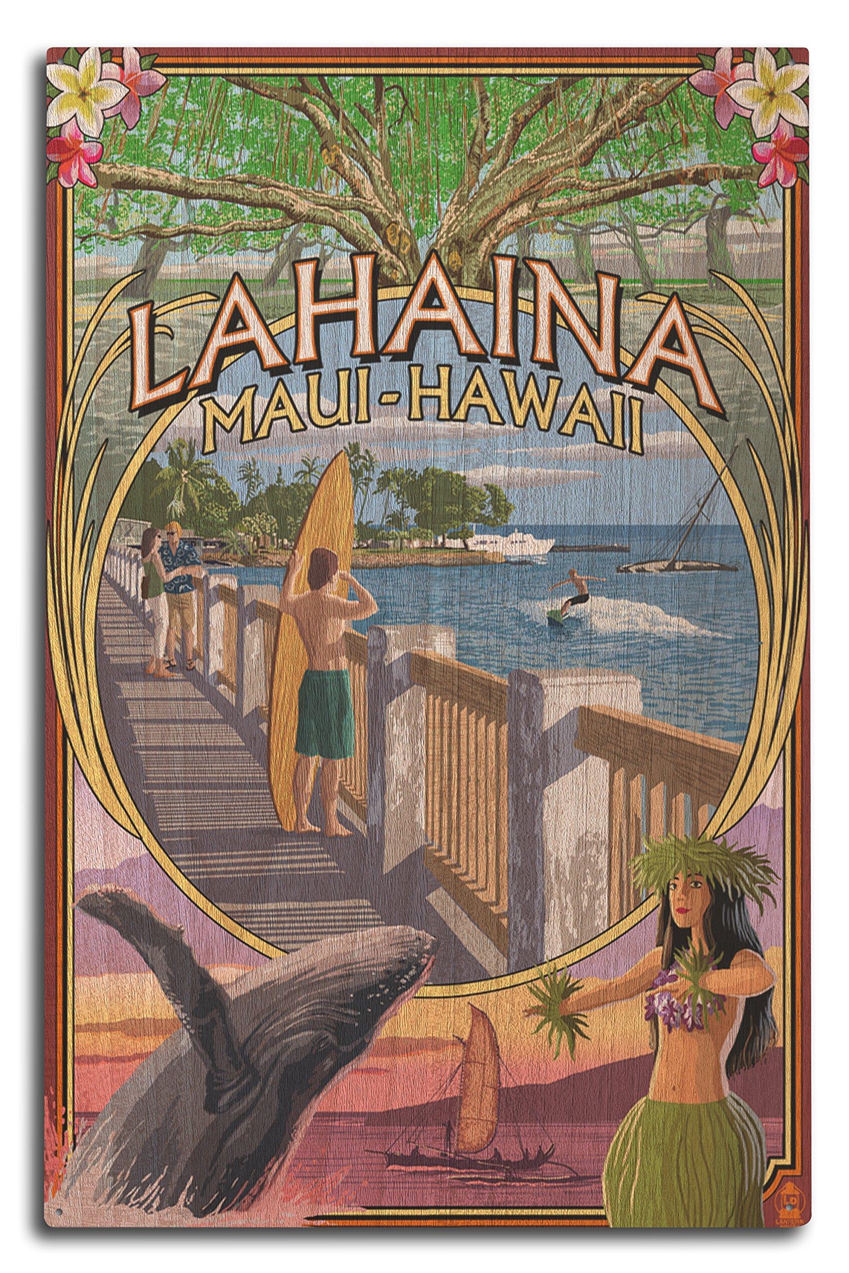 Lahaina, Maui, Hawaii - Town Scenes Montage (10x15 Wood Wall Sign, Wall Decor Ready to Hang)