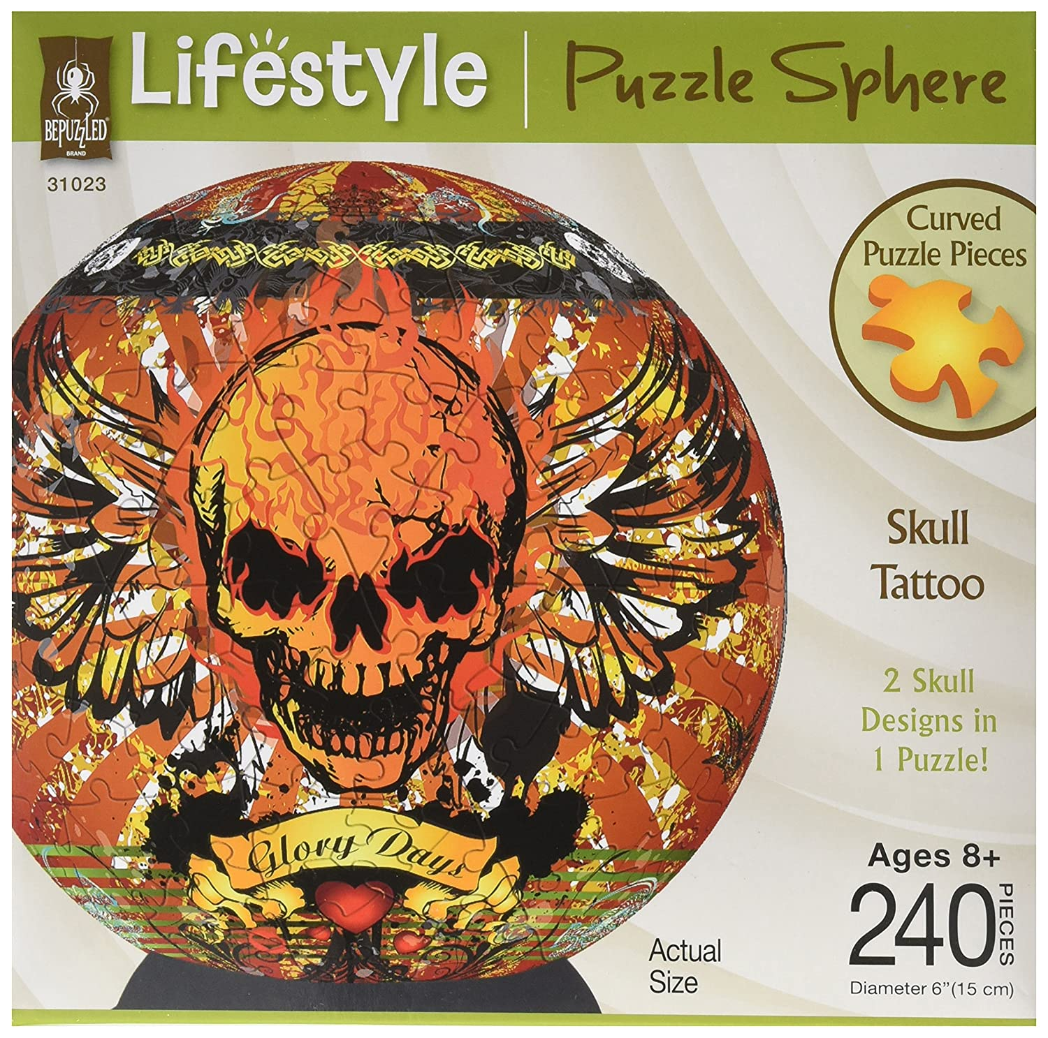 BePuzzled 3D Puzzle Sphere - Skull Sphere Puzzle, Multicolor by Bepuzzled University Games 31023