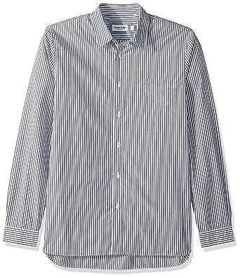 ce8419495f Lacoste Men's Long Sleeve Bengal Stripe Poplin Collar Reg Fit Woven Shirt,  CH5382 at Amazon Men's Clothing store: