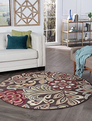 Dilek Transitional Floral Brown Round Area Rug, 8 Round