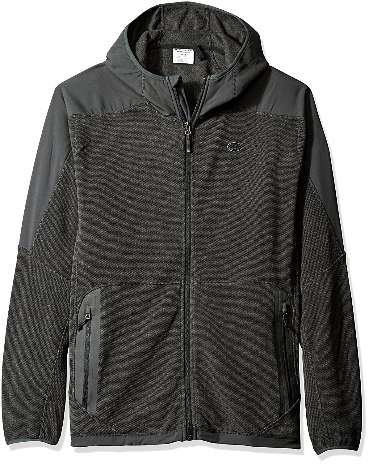 Champion Mens Tall Size Hooded Textured Fleece Jacket Champion Mens Outerwear CH2016TFT