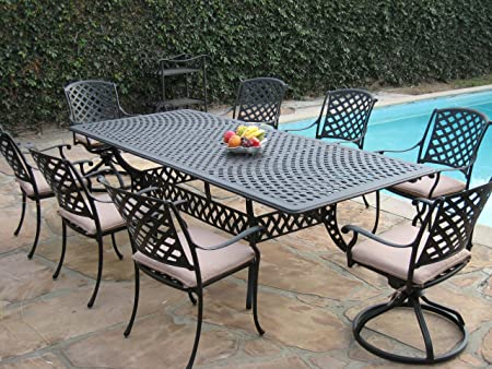 Amazon Com Cbm Patio Cast Aluminum 9 Piece Extension Dining Table Set With 2 Swivel Rockers And 6 Arm Chairs Kl09klss260112t Garden Outdoor