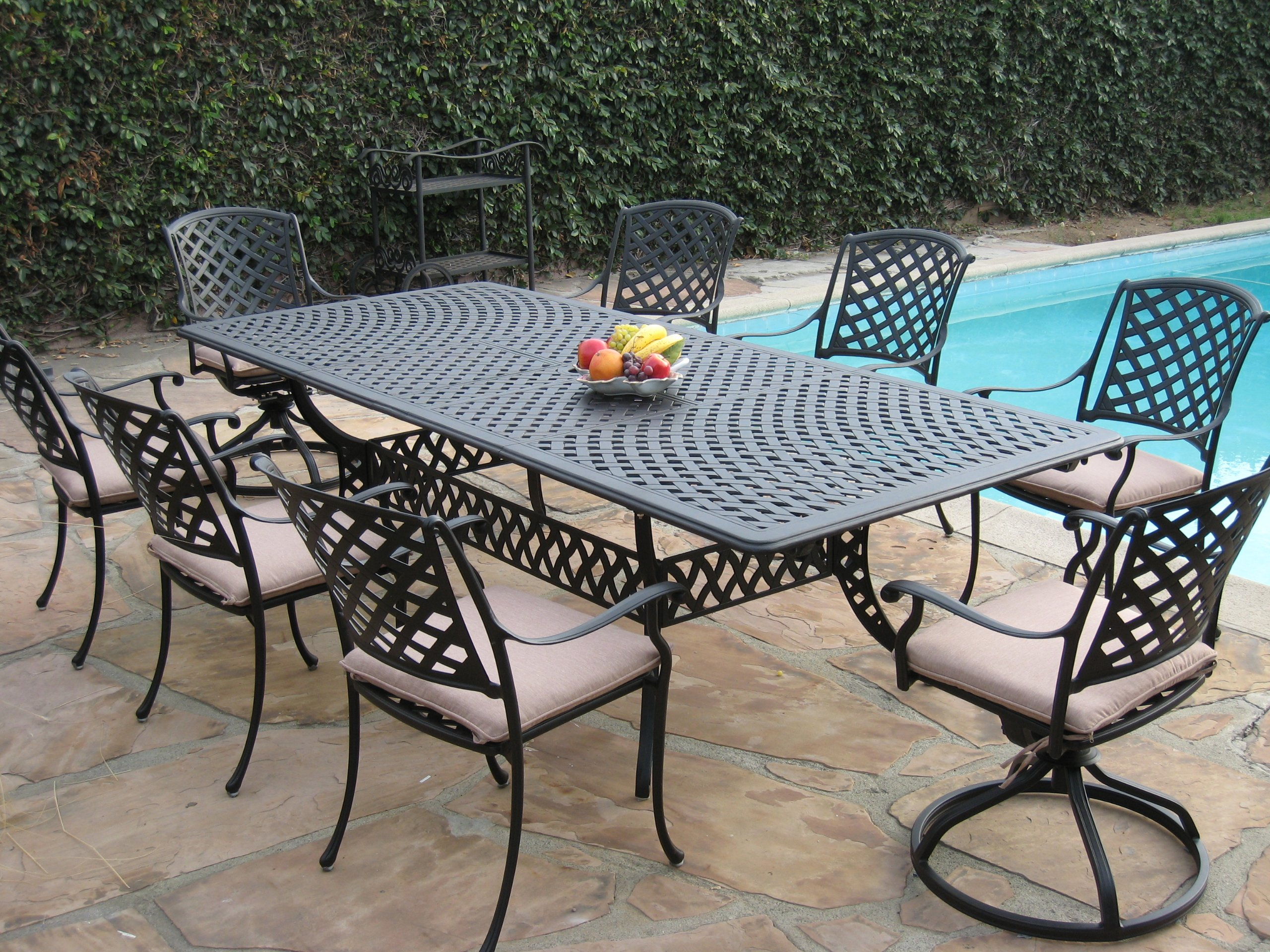 Cast Aluminum Outdoor Patio Furniture 9 Piece Extension Dining Table Set with 2 Swivel Rockers KL09KLSS260112T - CBM Patio Kawaii Collections Made of genuine cast aluminum,Comfortable seating Durable and quality. Assembly required. Color: Desert Brown Slate Finish. Includes: 6 Armchairs 2 Swivel Rockers and with free Cushions 1 Extendable Table. Chairs dimensions: 36.2H x 17.7 Seat Deep x 24.4 - patio-furniture, dining-sets-patio-funiture, patio - A1io3zmFfcL -