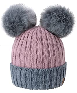 2175ef7e718f5 4sold Miki Colour Womens Girls Winter Hat Wool Knitted Beanie with Double Pom  Pom Cap Ski…