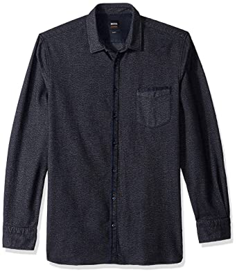33e0d1fa9 Amazon.com: Hugo Boss Men's Magenton Basket Weave Flannel: Clothing