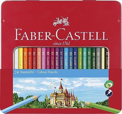 Faber Castell 115845 - Estuche de metal con 24 lápices de colores forma hexagonal, lápices escolares, multicolor: Amazon.es: Oficina y papelería