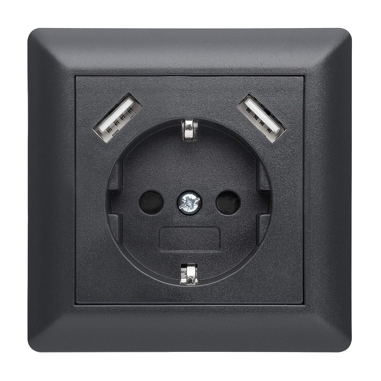 230 V Protección de contacto Schuko pared enchufe USB Enchufe ...