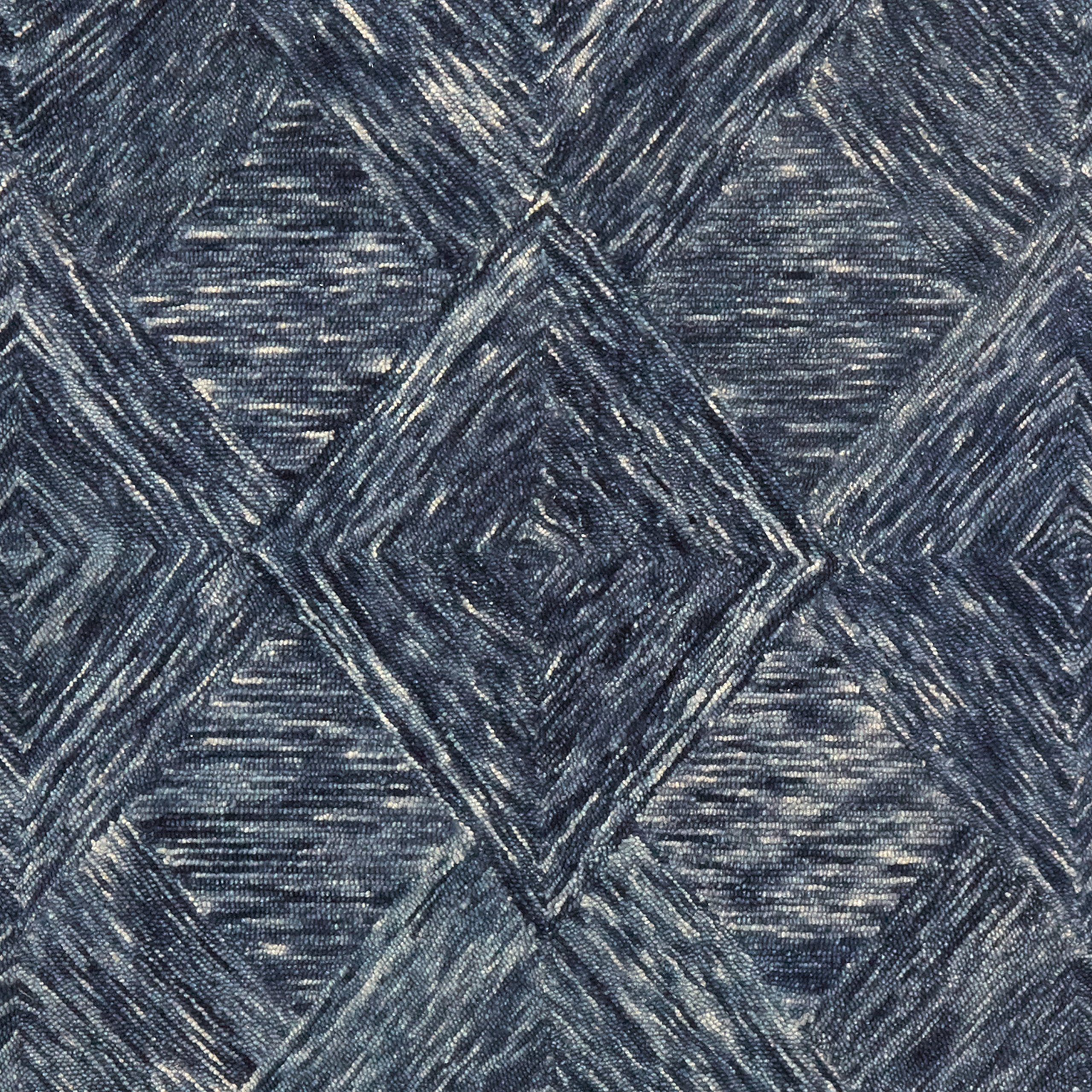 Rivet Motion Patterned Wool Area Rug, 8' x 10'6, Denim Blue by Rivet (Image #2)