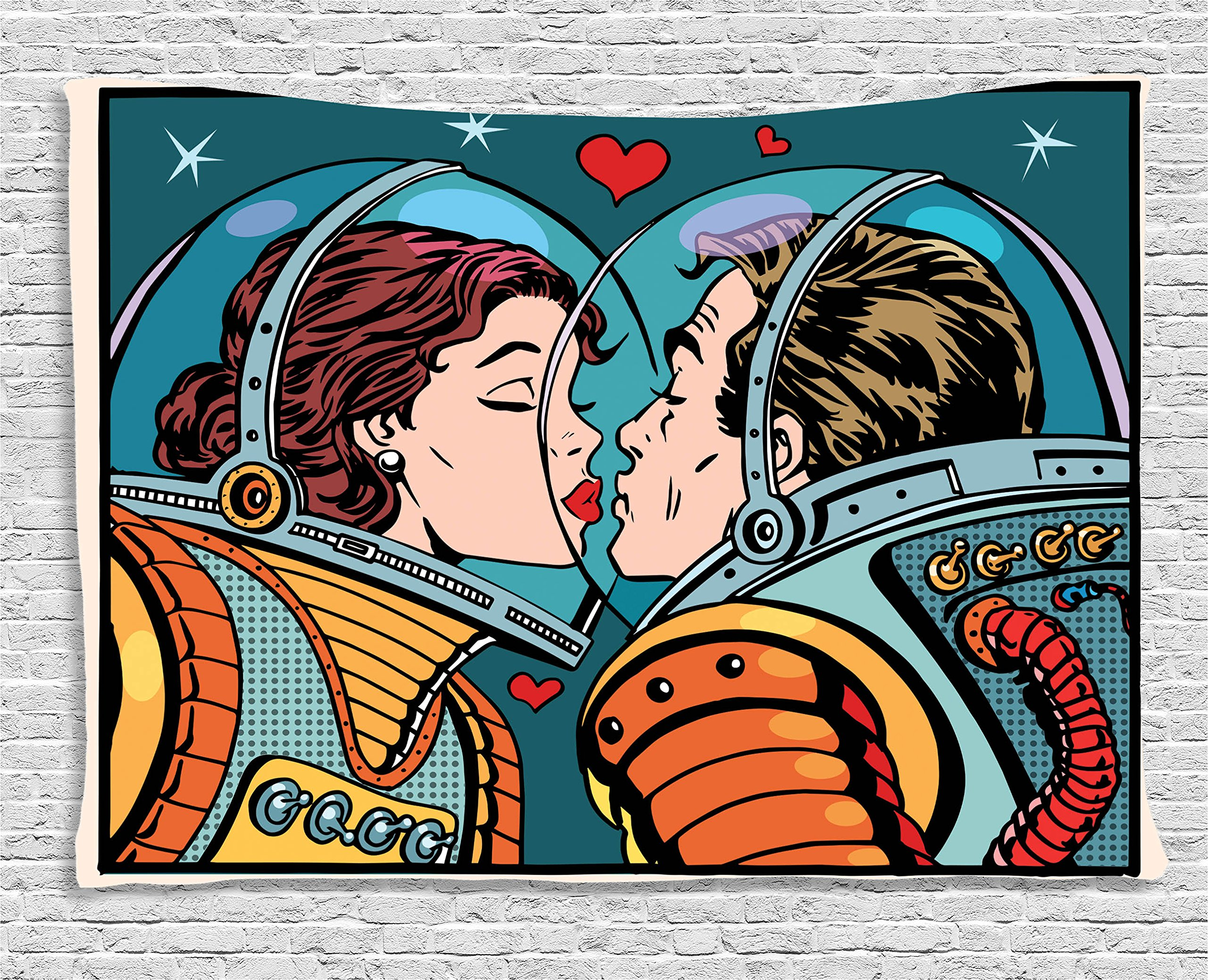 Ambesonne Love Decor Tapestry, Space Man and Woman Astronauts Kissing Science Cosmos Fantasy Couple Pop Art Style Artful Print, Wall Hanging for Bedroom Living Room Dorm, 60 W X 40 L, Multicolor