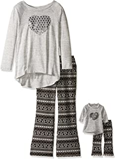 2c274a97acd0 Dollie & Me Girls' Knit Tunic with Sequin Heart and Nordic Flare Legging