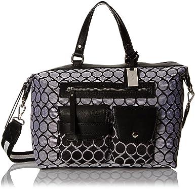 Pop Pocket Satchel Top Handle Bag, Black White/Black White/Black, One Size Nine West
