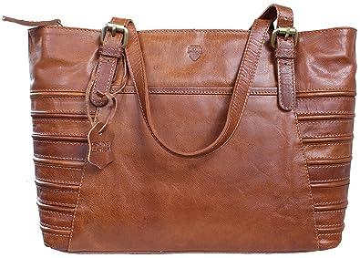 RICANO GIRA, Damen Ledertasche Handtasche   Umhängetasche aus Lamm Nappa  Echtleder in Braun  0ba396cd00