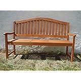 3-Sitzer Gartenbank, Bank mit ausklappbarem Tisch, massives Eukalyptusholz