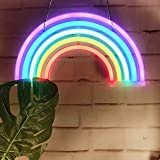 LEDネオンランプ ナイトライト Cute Rainbow Neon Sign,LED Rainbow Light/Lamp Decor Light,Rainbow Decor Neon Lamps,Wall Decor for Girls Bedroom,Christmas,Birthday party,Kids Room, Living Room,Party as Kids Gift,Wedding Party Decor
