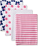 Gerber Baby Girls' 4 Pack Flannel Burp Cloths