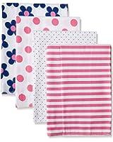 Gerber Baby Girls' 4 Pack Flannel Burp Cloths