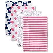 Gerber Baby Girls' 4 Pack Flannel Burp Cloths, Flower, 20  x 14