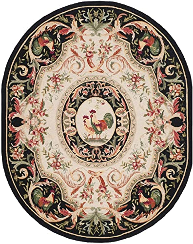 Safavieh Chelsea Collection HK48K Hand-Hooked Ivory and Black Premium Wool Oval Area Rug 4 6 x 6 6 Oval