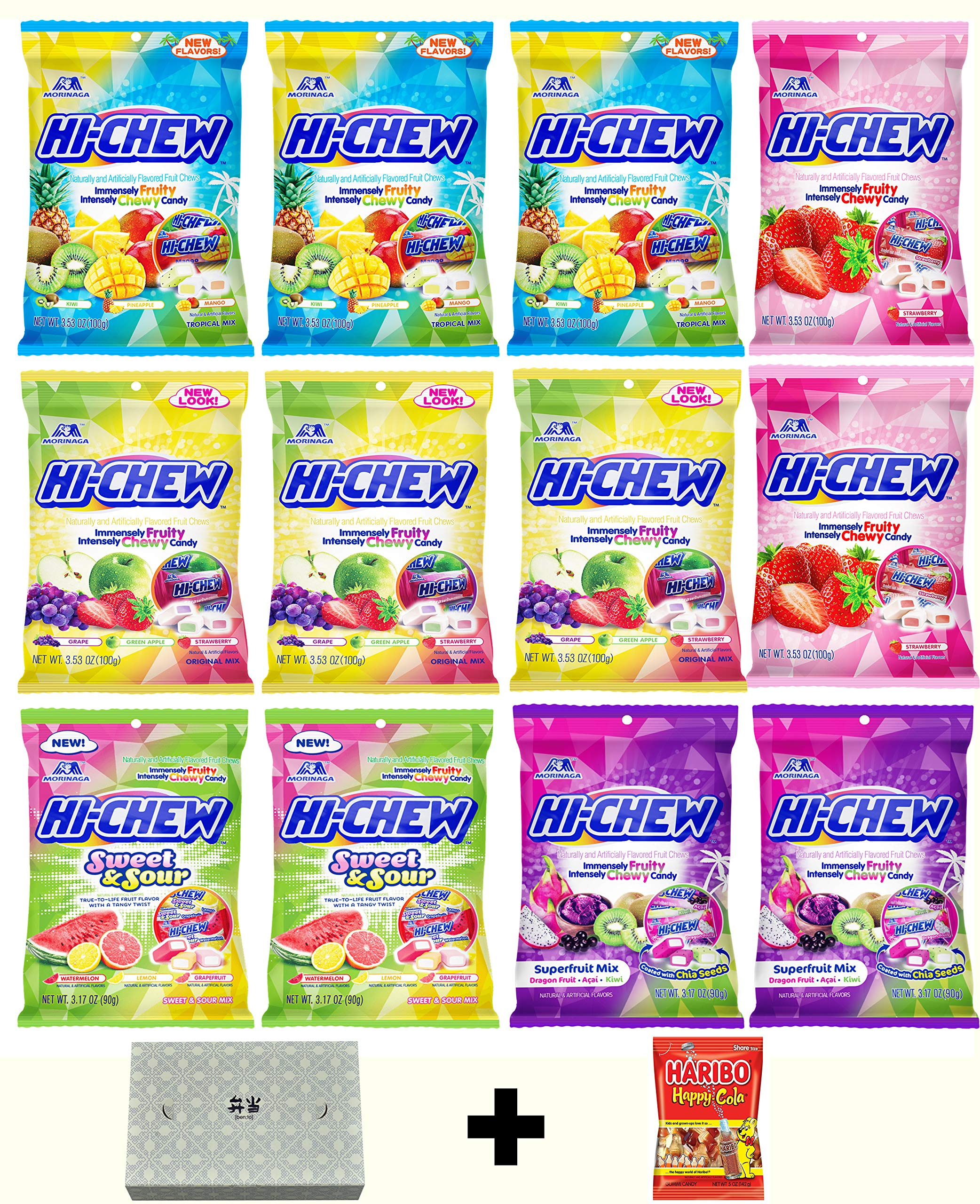 Hi Chew Candy Variety Pack 5 Flavors ( Superfruits, Sweet and Sour, Tropical Mix, Original Mix, and Strawberry) Pack of 12 by Hi-Chew