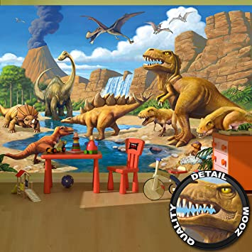 Nice Fototapete Kinderzimmer Abenteuer Dinosaurier   Wandbild Dekoration  Dinowelt Comic Style Jungle Adventure Dinosaurus Wasserfall I Foto
