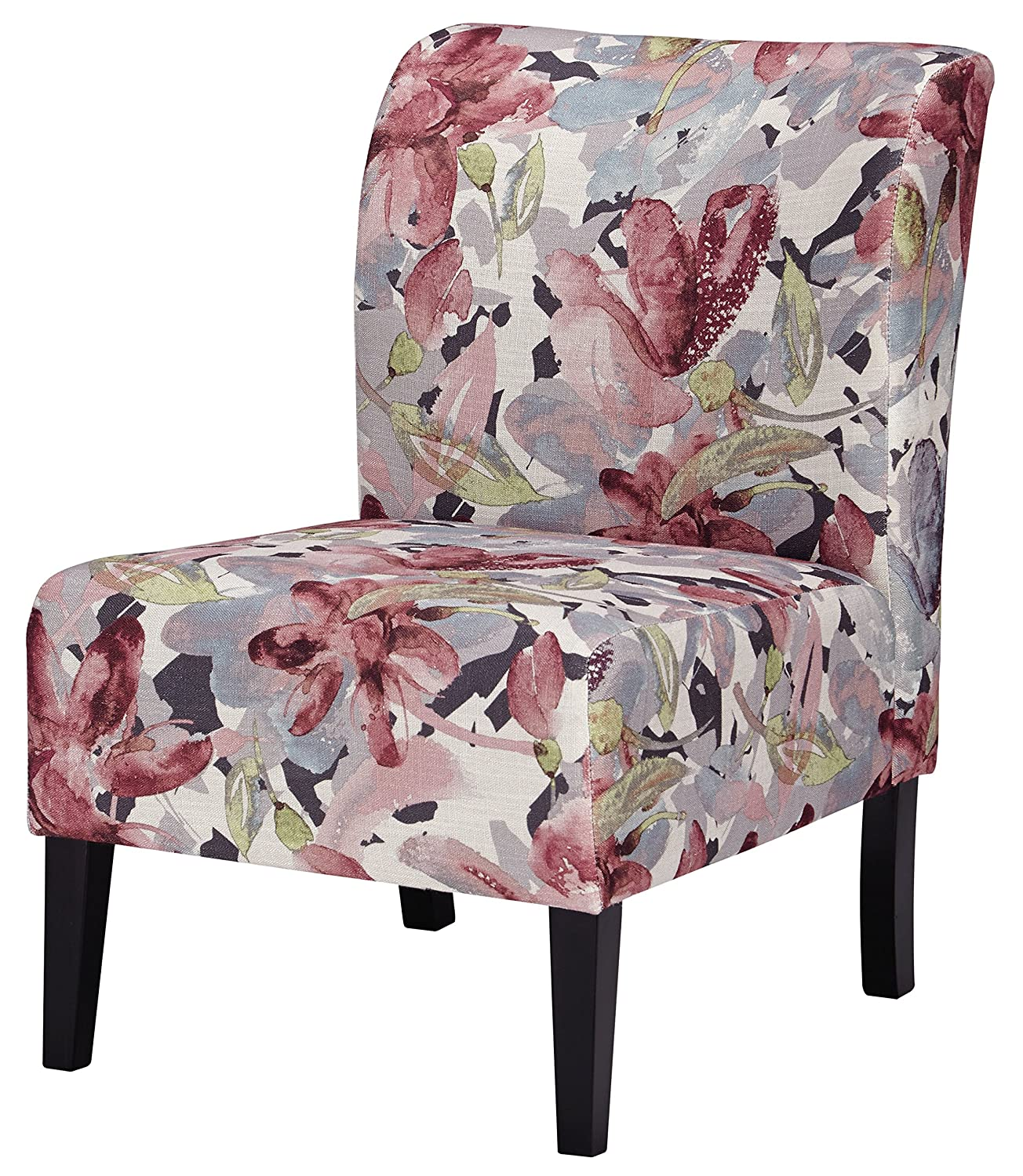 Amazon com ashley furniture signature design triptis accent chair contemporary watercolor floral in shades of plum charcoal dark brown legs