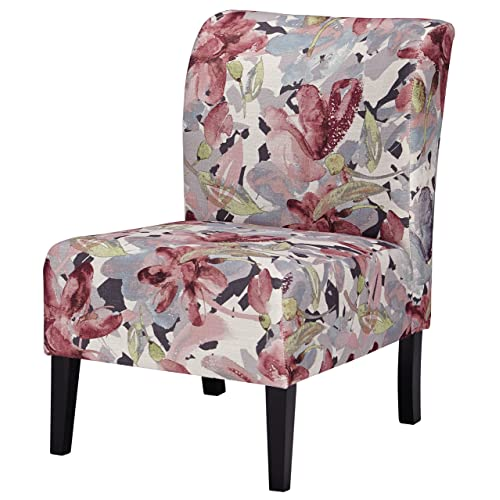 Ashley Furniture Signature Design - Triptis Accent Chair - Contemporary - Watercolor Floral in Shades of Plum/Charcoal - Dark Brown Legs