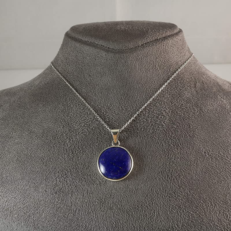 Womens Mens Sterling Silver Natural Navy Blue Lapis Lazuli 1.19 inches Cross Pendant Necklace 16+2 inches Chain