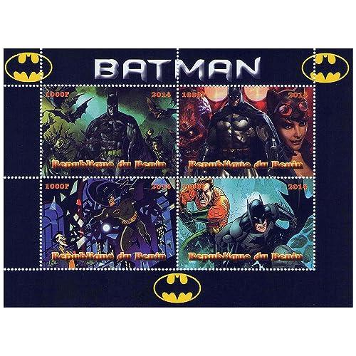 Marvel Heroes Batman feuille de timbres comique pour les collectionneurs avec 4 timbres émis 2014 / République du Bénin / MNH