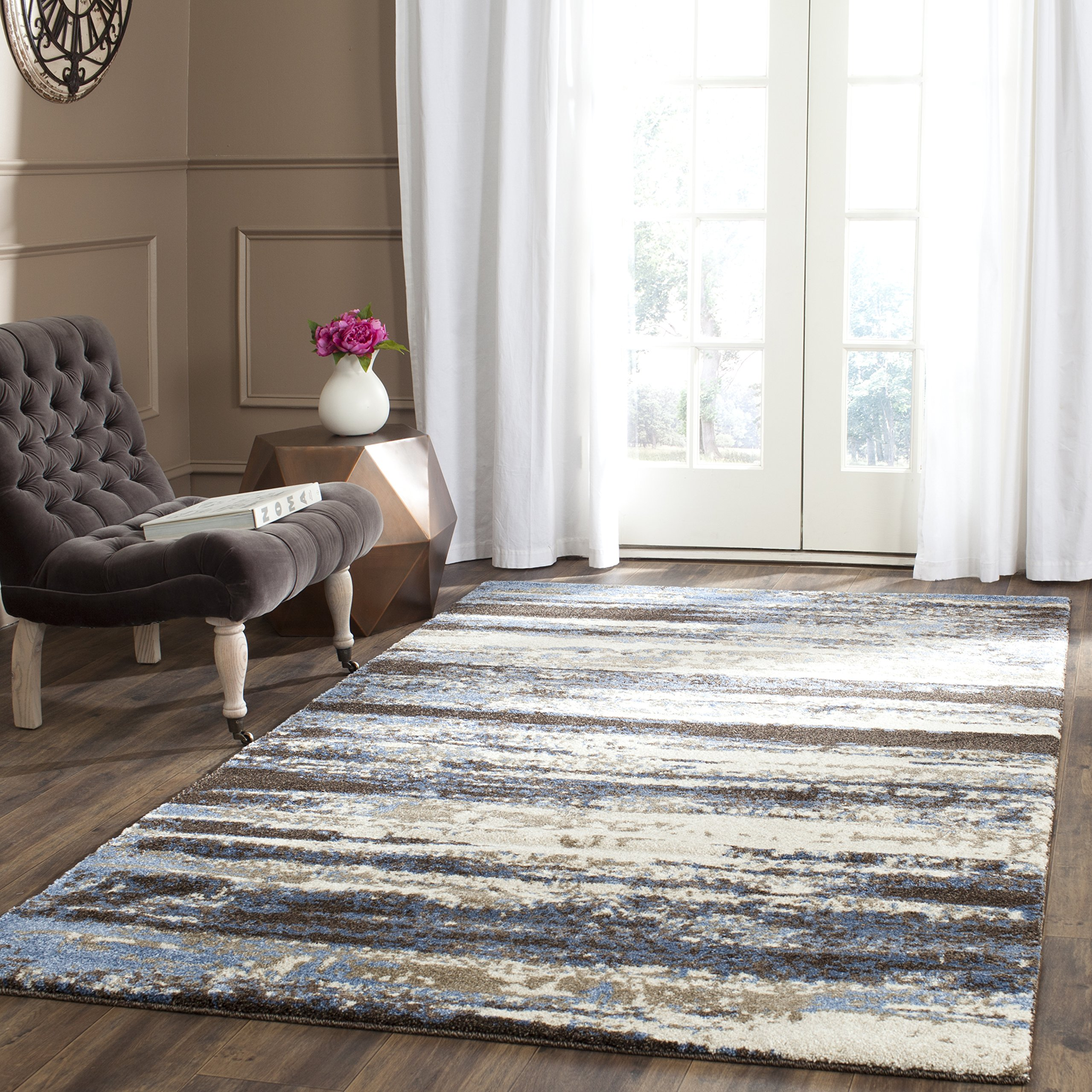 Safavieh Retro Collection RET2138-1165 Modern Abstract Cream and Blue Area Rug (6' x 9') by Safavieh