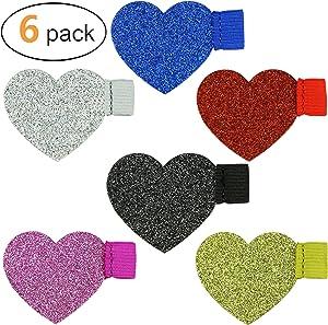 Heart Pen Loop Colourful Glitter - 6pcs Adhesive Pen Holder Elastic Designed for Fridge, Notebooks, Calender, Laptop, Desk - by Naitefly