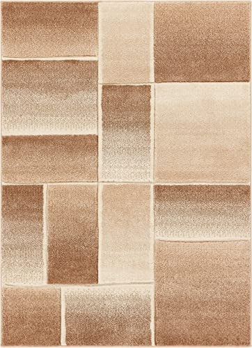 Well Woven Beverly Squares Beige Ivory Modern Geometric Boxes Hand Carved 4×6 3 11 x 5 3 Area Rug Easy to Clean Stain Fade Resistant Thick Soft Plush