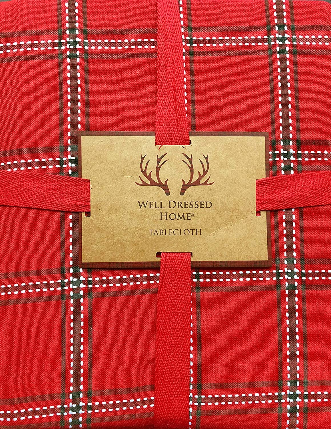 Well Dressed Home Tablecloth Holiday Christmas Checked Plaid Pattern with Thin Green Stripes on Red, and Thin Sewn White Thread Stripes 60 Inches x 84 Inches