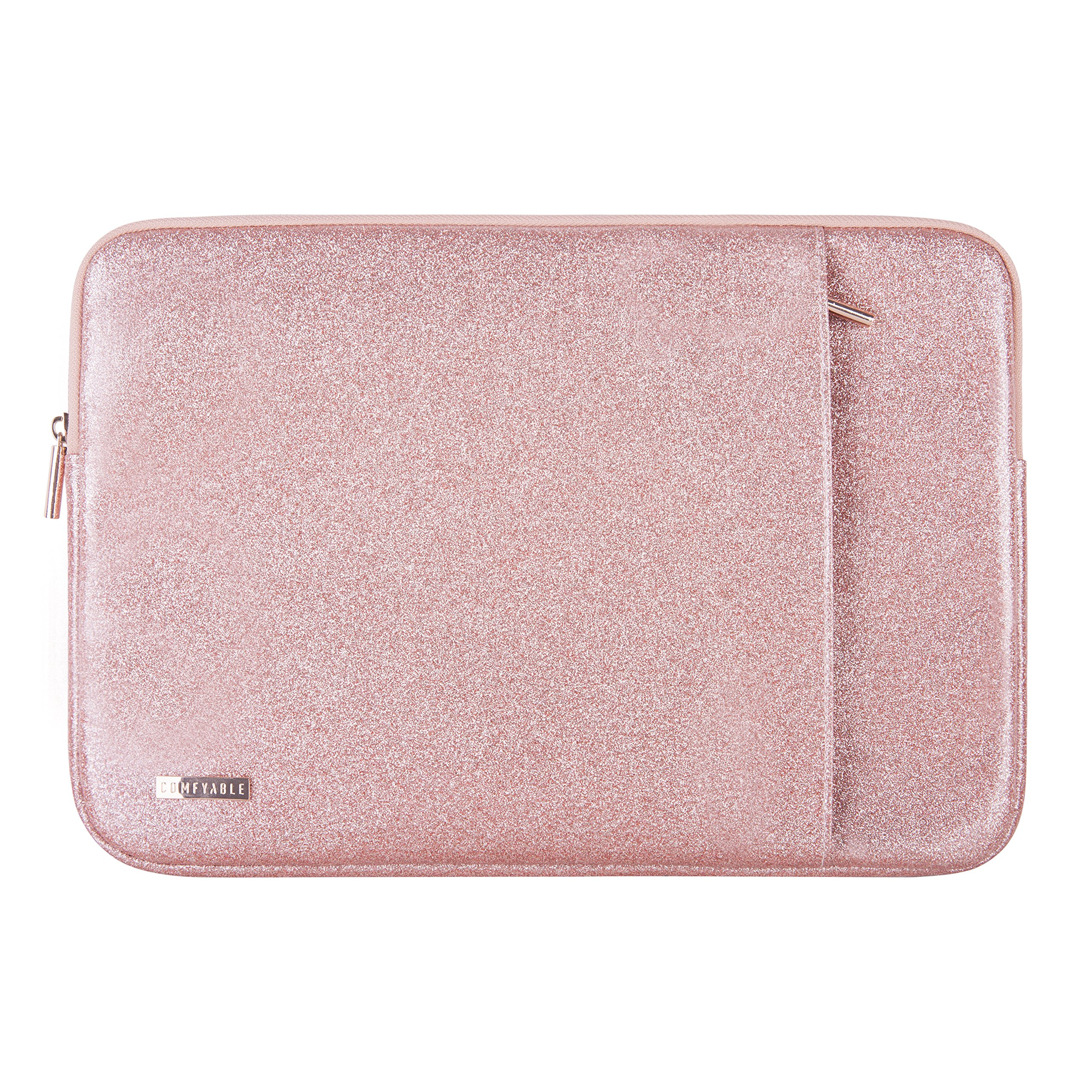 Comfyable Laptop Sleeve for MacBook Pro 13-13.3 Inch & Mac Air 13-13.3'', Notebook Computer Case w/Pocket- Waterproof & Soft Cover- Rose Gold Pink Glitter