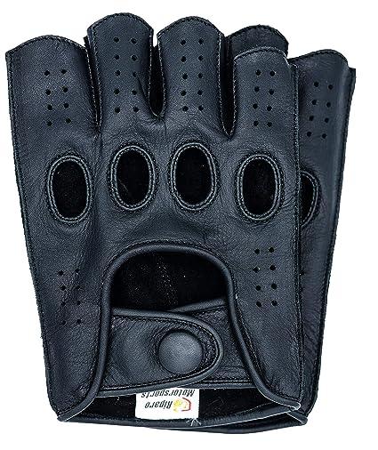 Riparo Guantes de Moto de conducci/ón de Dedo Medio sin Dedos cosidos en reversa de Cuero Genuino para Hombre 2X-Grande Co/ñac Negro