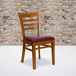Flash Furniture 2 Pack HERCULES Series Ladder Back Cherry Wood Restaurant Chair - Burgundy Vinyl Seat