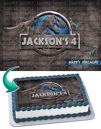 EdibleInkArt Jurassic World Dinosours Edible Cake Topper Personalized Birthday 1 4 Sheet Decoration Custom