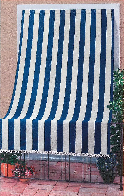 Tenda sole per porta Con anelli riga blu Lunghezza 140 cm, altezza 250 cm. Biacchi T1372910/B
