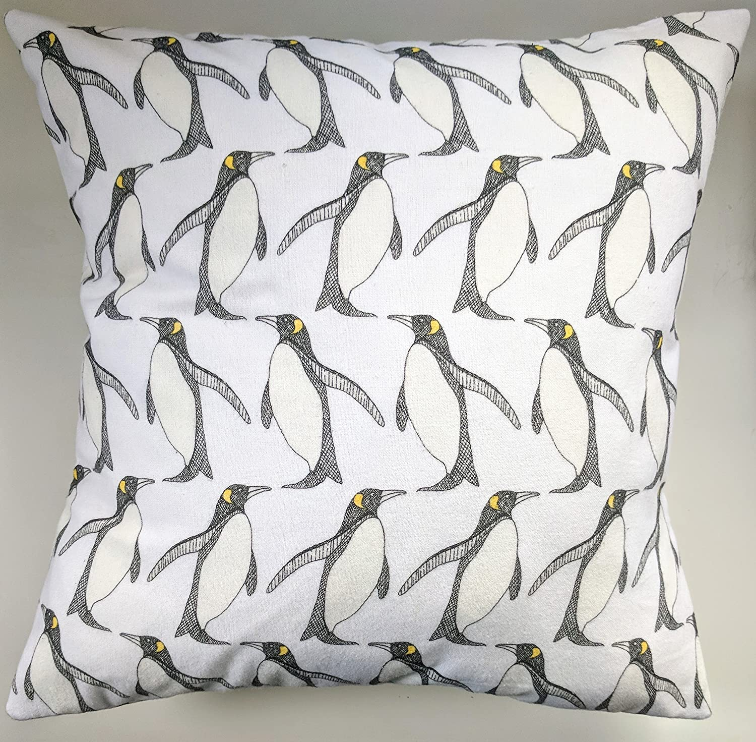 Cushion Cover in White Penguins Brushed Cotton 16'