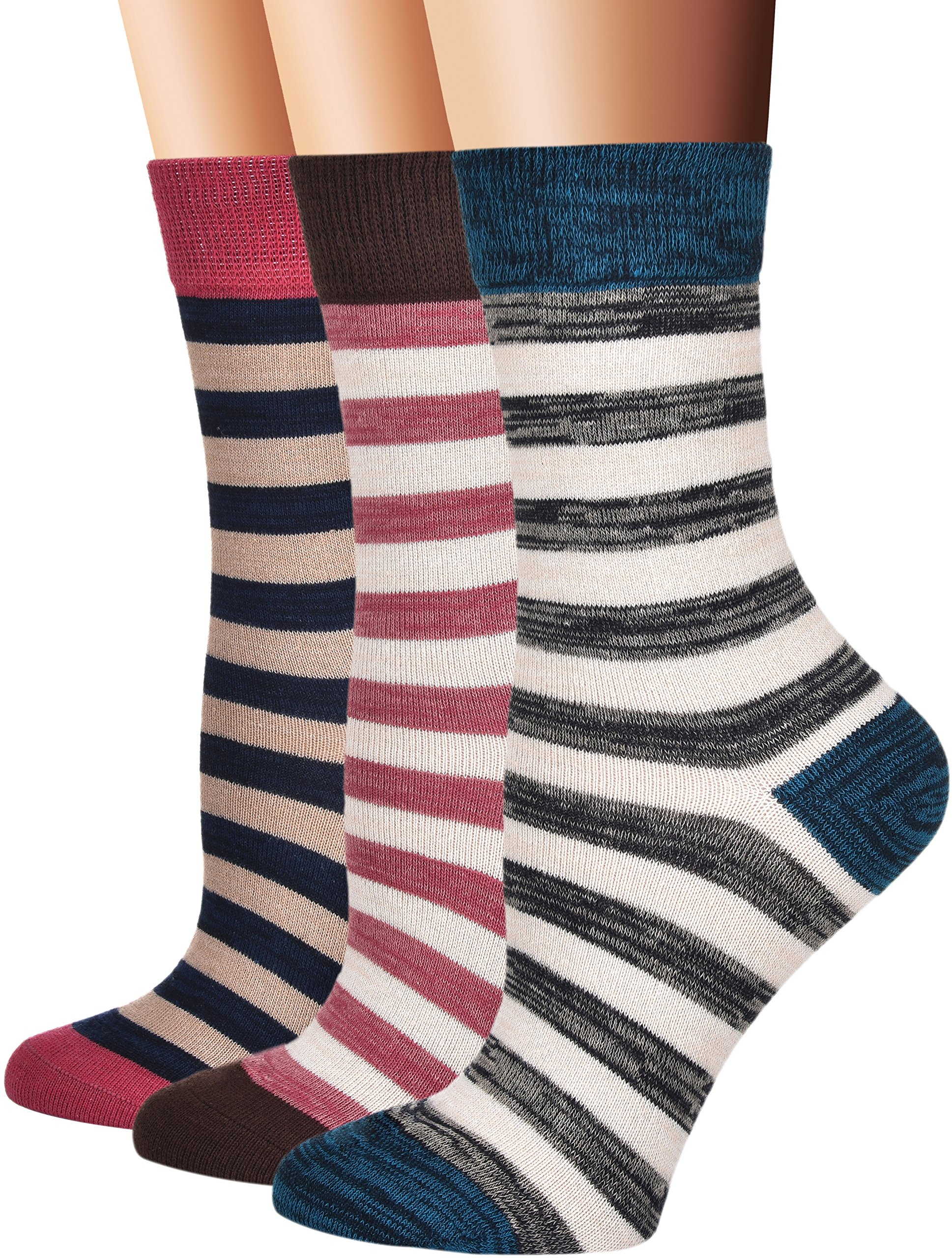 Flora&Fred Women's Vintage Cotton Crew Socks, Size 10-12 / Shoe Size 8-11, Striped, 3 Pairs Pack