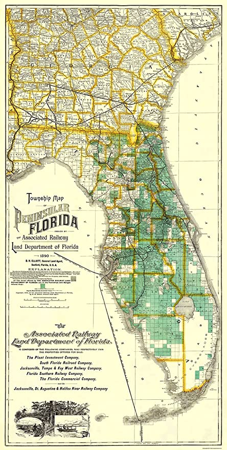 Full Map Of Florida.Amazon Com Old State Map Florida 1890 23 X 45 56 Matte