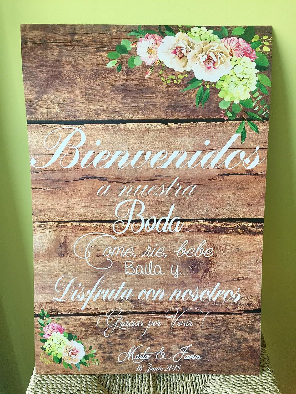 Cartel Bienvenidos a nuestra Boda flores con flores azules y ...