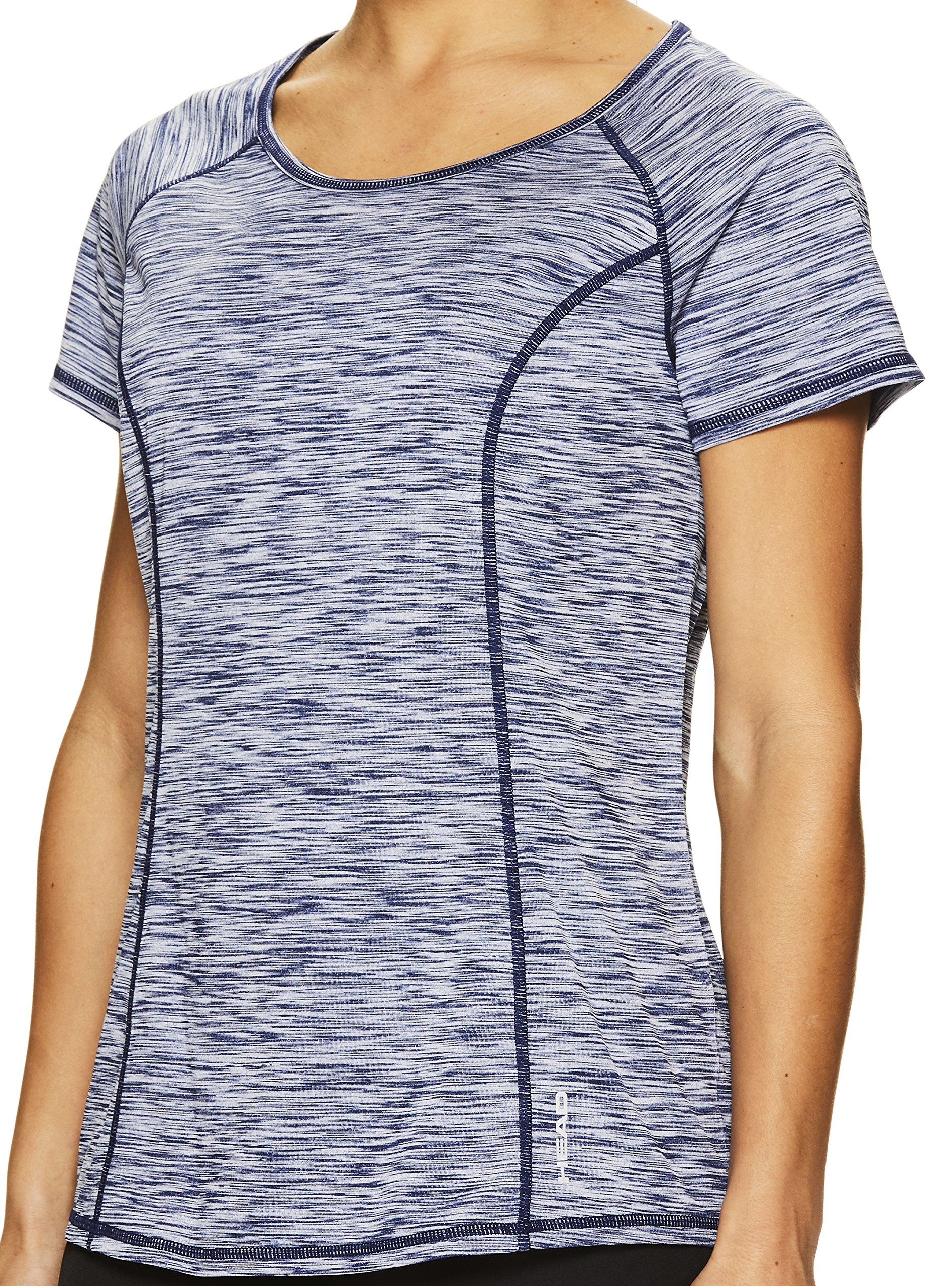 HEAD Women's Serena Short Sleeve Workout T-Shirt - Performance Crew Neck Activewear Top - Medieval Blue Heather, X-Small by HEAD (Image #2)