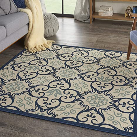 Amazon Com Nourison Caribbean Ivory Navy 5 Square Area Rug 5 3 X 5 3 Square Furniture Decor