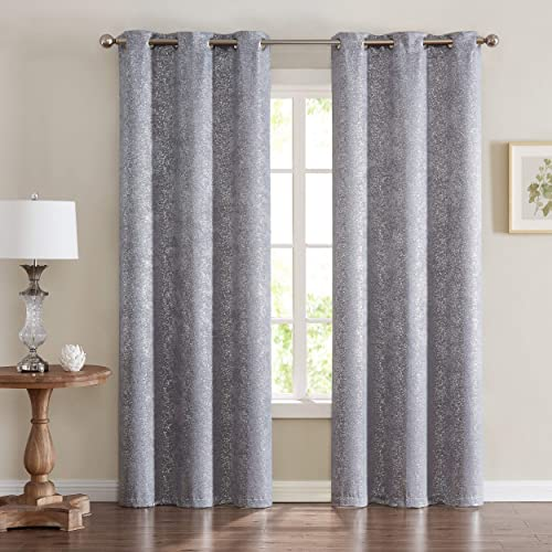 Dainty Home Chic Home Artistic Printed Lurex Foil Heavy Weave Thermal Black Noise Reducing Blackout Window Panel Pair, 38 x 84 Each 76 x 84 Total , Shimmering Silver Grey, 2 Piece