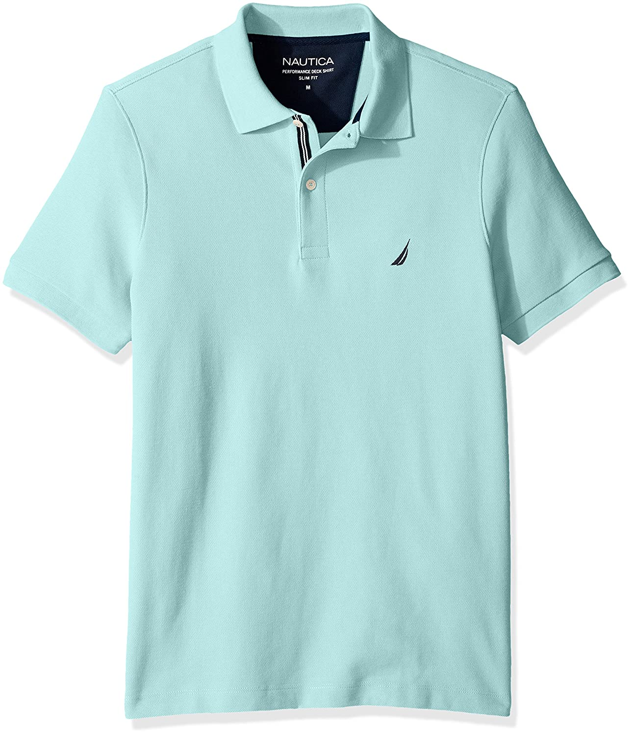 Nautica Mens Slim Fit Short Sleeve Solid Polo Shirt, Harbor Mist ...