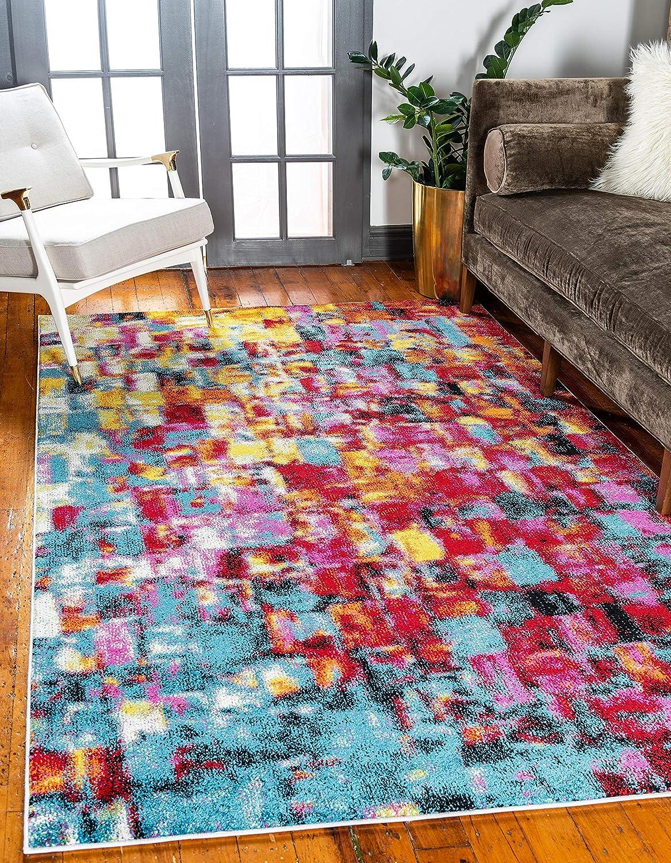 Unique Loom Lyon Modern Abstract Rug_LYN019, 9 x 12 Feet, Multi/Blue