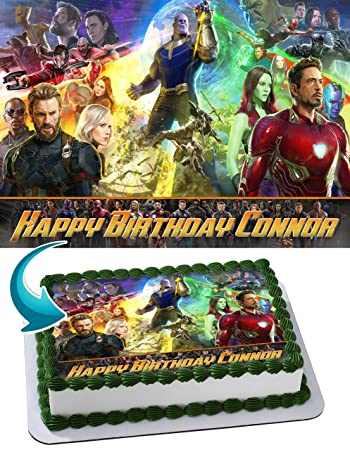 Avengers Infinity War Edible Image Cake Topper Personalized Birthday 1 4 Sheet Decoration Custom