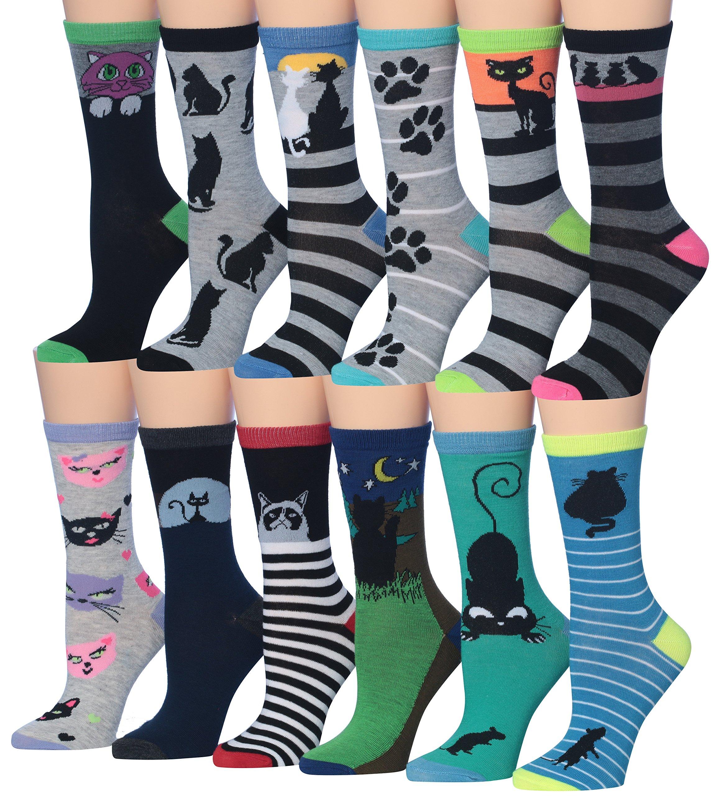 Tipi Toe Women's 12-Pairs Fashion Crew Novelty Cat Socks, (sock size 9-11) Fits shoe size 5-9, W51-AB