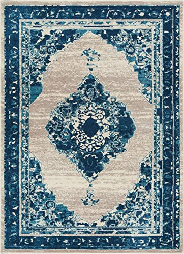 Well Woven Talya Abstract Vintage Distressed Medallion Blue Beige 8×10 7 10 x 9 10 Area Rug