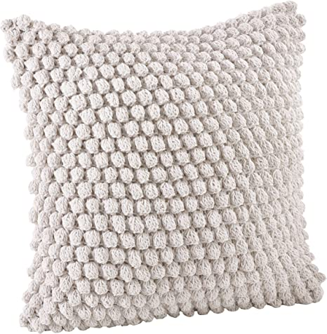 Saro Lifestyle Camargue Collection Crochet Pom Throw Pillow With Down Filling 20 White Home Kitchen